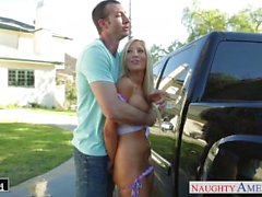 Busty babe Tasha Reign take cock outdoors