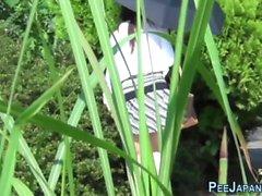Asian pinkelt in öffentlichen Park