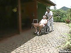 Crazy old Brazilian granny slut!