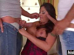 Candi Cox sucked two giant cock