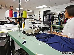 Milcah Halili sucks huge black cock in tailor shop