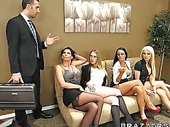 Four Hot big-boob office sluts fuck boss' big-dick in office orgy