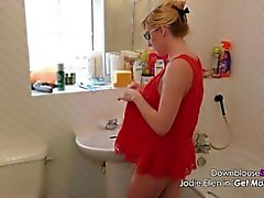 Jodie Ellen Downblouse atractivo vídeo Lookbook 1 Hot Shot bebé rubio en 4K UHD