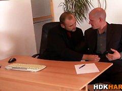 Gay hunk gets face jizzed