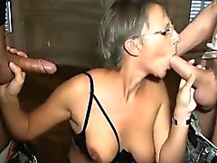 French mature Sophie double penetrated
