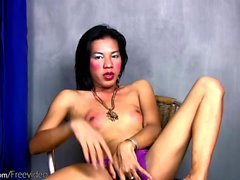 Filipino tranny teases her tight ass with sex toy and jerks