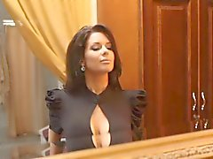 Veronica Avluv getting dressed in lingerie and stockings