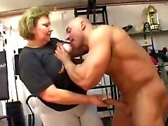 fat granny does anal in the gym
