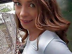 Small tits brunette Eurobabe public sex