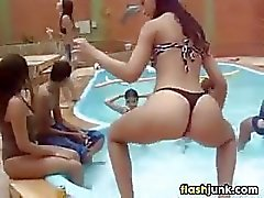 Girl Dancing At Pool Party