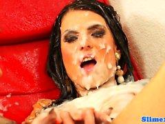 Bukkake lesbians facesitting at gloryhole