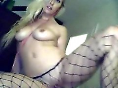 Blonden Nocken Schlampe in fishnets