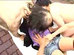 Striking Japanese babe with lovely tits gets used by a grou