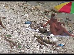 Hahnrei-Hündin am Strand