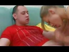 German blonde is sucking and fucking her brother's friend