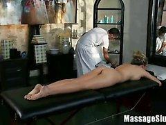Blonde Bombshell Samantha Saint gets an Erotic Oily Massage