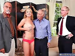 Blonde teen Raylin Ann gang banged by three old men