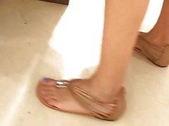 Offenes jugendlich sexy feets blaue Zehen in der Linie