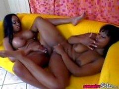 Black babes scissor their ebony slots