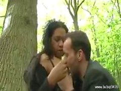 French Black gets pushed in the woods