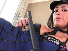 Busty tranny officer ass banged bareback by fat cock