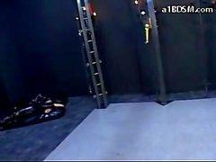 Esclava De del Pvc del vestido actuando como una animal doméstico Spanked In The Calabozo