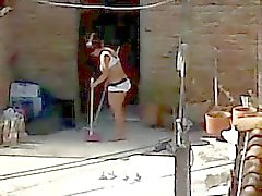 Spying Соседи очистки - милф задницу Белье вуайерист