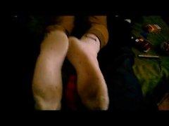 Fotsex inom whiteTacchini gymnastikskor som sockor