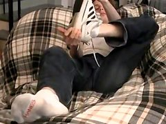 Gay feet tickling Jarrod Teases And Strokes