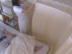 Giapponese, infermiera, mano, con, guanti
