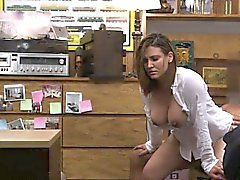 Foxy business woman fucked by pawn guy in the backroom