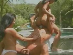 Brunette sluts fucked by huge cock by the pool outdoors