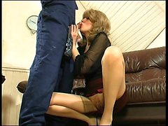 Busty blonde Nikki Benz in stockings