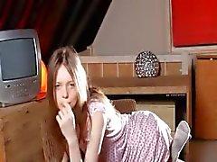 Weiss Socken und irrsinnig dünn Mädchen