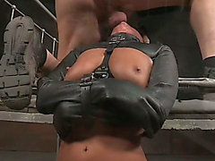 Brunette Hair blindfolded lady on the ribald sofa group-fucked by 2 studs