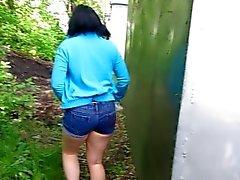 Pissing Standing In A Public Place. Filmed Girlfriend)