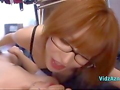 Sexy Redhead With Glasses Sucking Cock Giving Handjob For Guy Cum To Hand On The Mattress In The Roo
