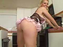 Naughty blonde mom treats his ass to a rimjob then rides him in the kitchen