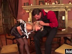 Blonde maid fucks with her boss