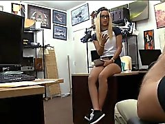 Cutie in glasses gets her pussy pounded by nasty pawn guy
