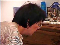Fransızca Eski Anne - Gözlük üzerinde Cum
