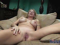 Busty blonde slag spreads her wet muff