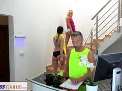 Fitness Zimmer Gym lesbischen verrückten großen Schwanz ficken