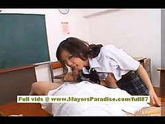 Japaneae AV model gets her hairy pussy licked in the classroom