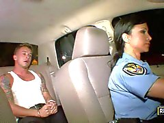Sexy police lady Jewels Jade seduces a man