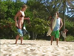 Carli Banks going nude on surfbeach