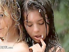 Beautiful teenagers in the rain