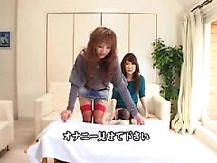 Asian cuties play with themselves on the couch, then each o