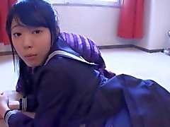 asiática adolescente de dildo traje de baño de assjob