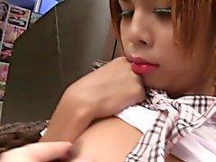 Tiny Ladyboy Schoolgirl Seduction and Bareback